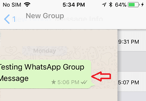 Swipe Left on WhatsApp Group Message on iPhone