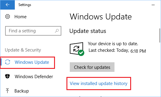 View Installed Update History Option in Windows