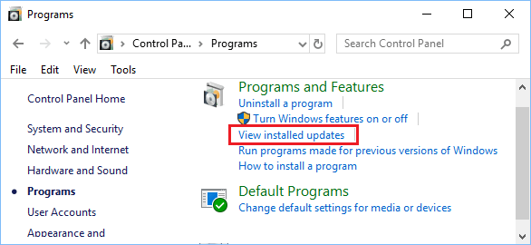 View Installed Updates Option in Windows 10 Control Panel