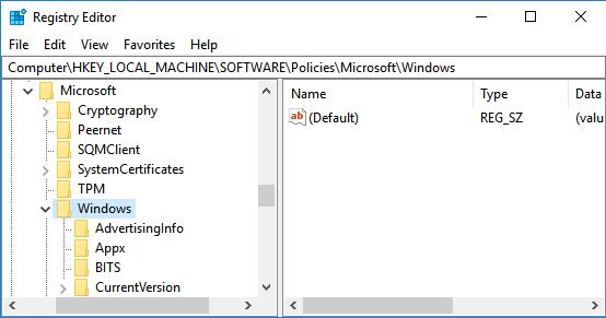 Windows Folder in Windows 10 Registry Editor Screen