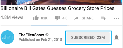 Subscribed Button in YouTube Channel