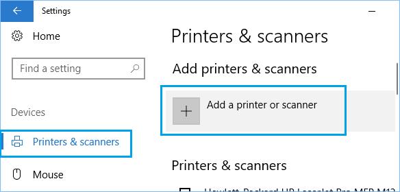 Add Printer or Scanner Option in Windows 10