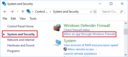 Allow an App through Windows Firewall Option in Windows 10 Control Panel