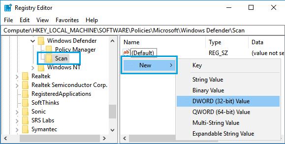 Create New DWORD in Scan Registry in Windows 10