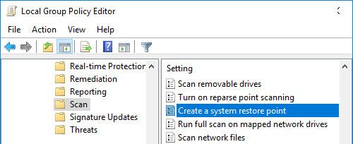 Create System Restore Point in Windows 10