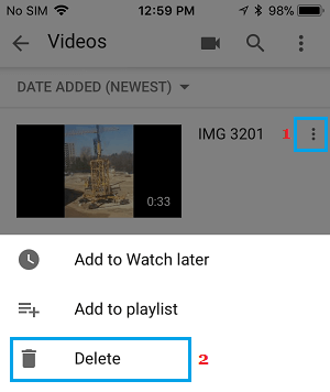 Delete YouTube Video from iPhone or Android Phone