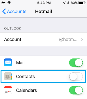 Disable Email Account Contacts on iPhone
