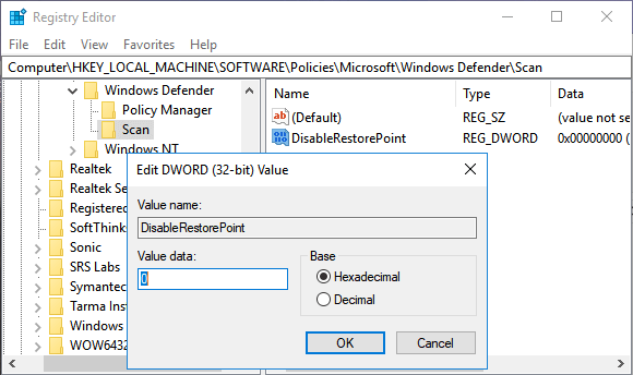 Edit DisableRestorePoint DWORD Value in Windows 10