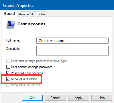 Disable User Account Using Computer Management in Windows 10