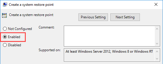 Enable the Option to Create System Point in Windows 10