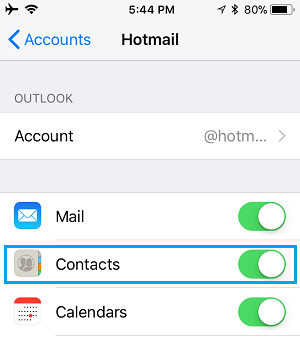Enable Email Account Contacts on iPhone
