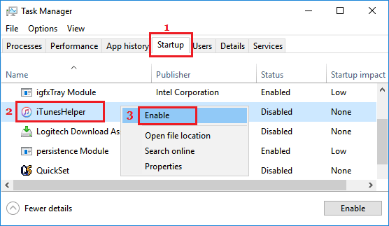 Enable Startup Programs in Windows 10
