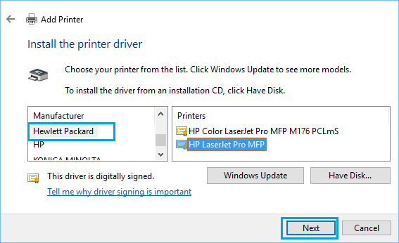 Install Printer Driver in Windows 10