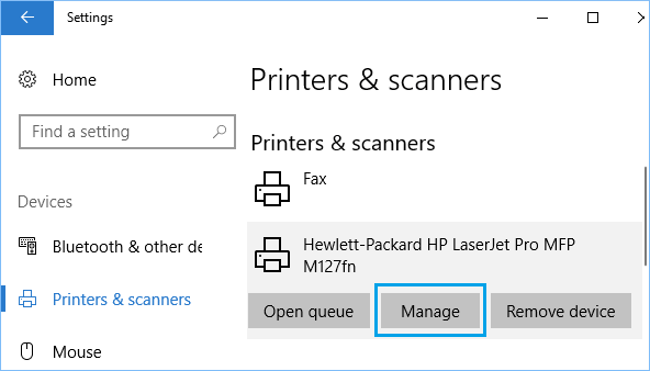 Manage Printer Option in Windows 10