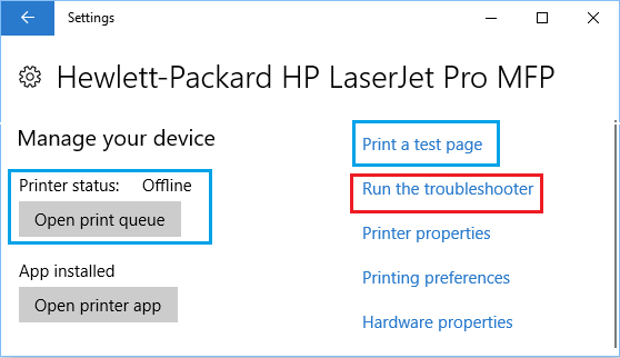 Manage Printer Screen in Windows 10
