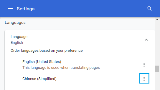 Language Menu Icon in Chrome Browser