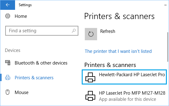 Available List of Printers in Windows 10