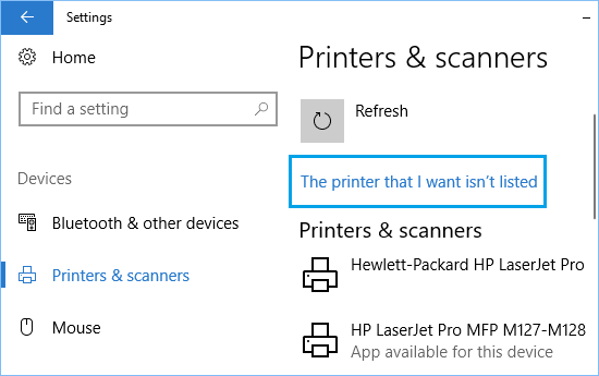 The Printer that I want isn't listed Link in Windows 10.