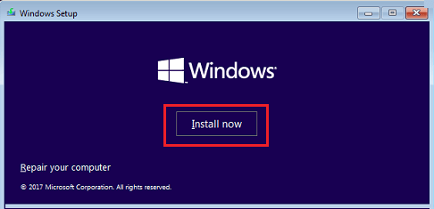 Install Windows Option on Windows Setup Screen