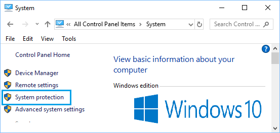 System Protection Option on Windows Control Panel