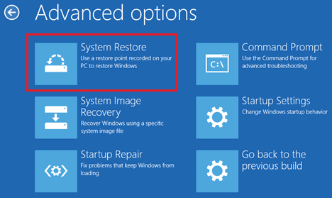 System Restore Option in Windows Advanced Options Screen