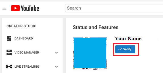 Verify YouTube Account Button