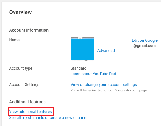View Additional Features Link in YouTube
