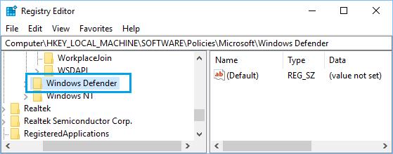 Navigate to Windows Defender Registry in Windows 10