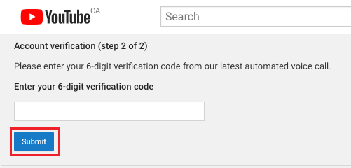 Submit YouTube Verification Code