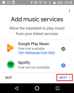 Add Music Services Screen in Google Home App