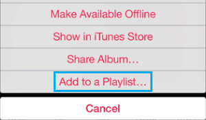 Add to A Playlist Option in Apple Music on iPhone