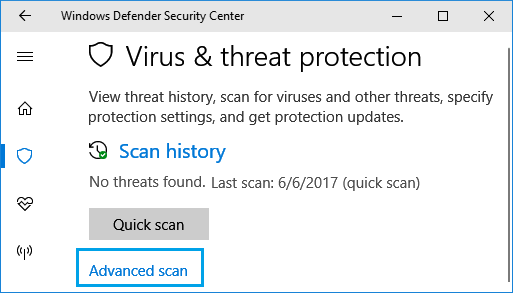 Advanced Scan option in Windows Defender