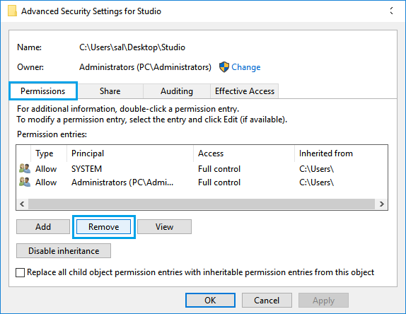 Permissions Tab on Advanced Security Settings Screen