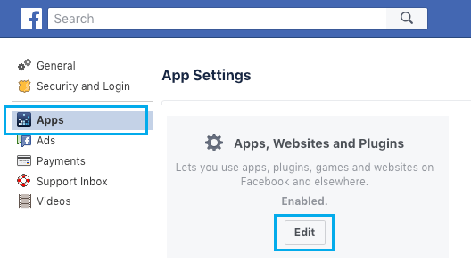 Edit Apps, Websites and Plugins Settings on Facebook