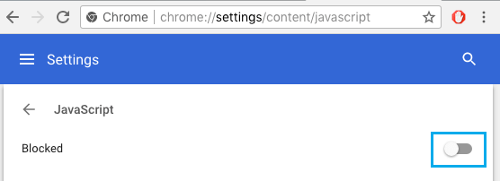 JavaScript Disabled in Chrome Browser