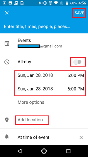 Calendar Event Details Settings Screen on Android Phone
