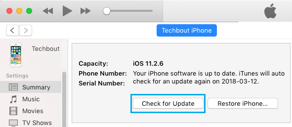 Check For Update Option in iTunes