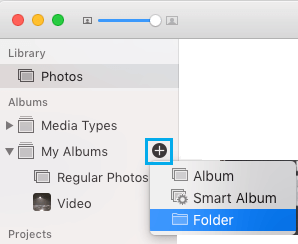 Create Folder in Photos App on Mac
