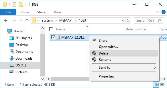 Delete Msmapi32.dll File