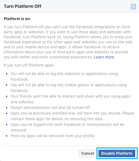 Disable Data Sharing Platform in Facebook
