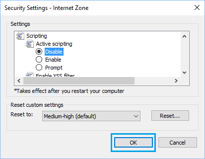 Disable JavaScript in Internet Explorer