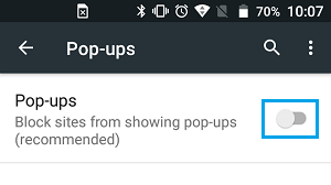 Block Popups in Chrome Browser on Android Phone