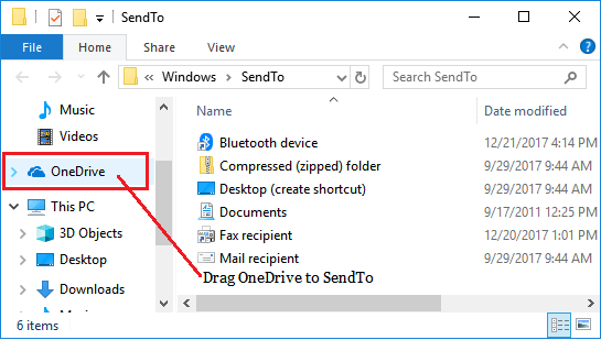 Add OneDrive Shortcut to SendTo Menu in Windows 10