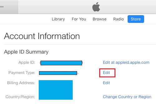 Edit Payment Information Option in iTunes