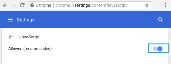 Enable JavaScript in Chrome Browser
