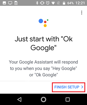 Finish Setup Screen in Google Home App