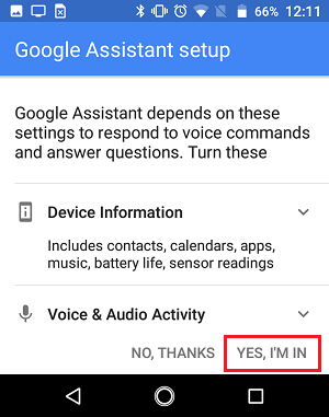 Google Assistant Permission Screen in Google Home App