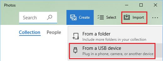 Import Photos Option in Microsoft Photos App