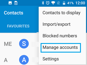Manage Accounts Option on Android Phone
