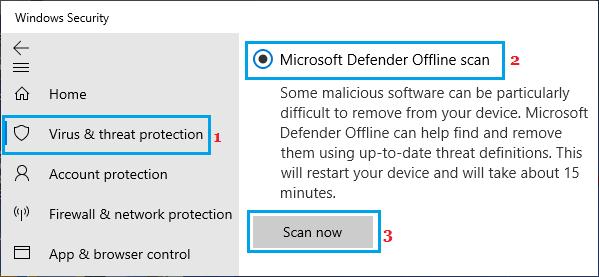 Microsoft Defender Offline Scan Option on Windows PC